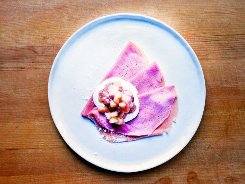 Pink Blini with Gooseberry-Apple Compote