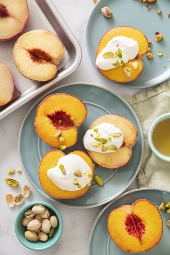 Baked Nectarines with Honey Yogurt Sauce