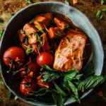 Paleo Red Curry Braised Salmon with Sweet Potatoes