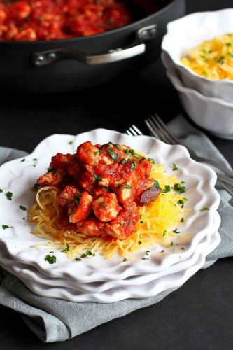 Chicken Puttanesca with Spaghetti Squash