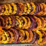 Maple Thyme Roasted Delicata Squash and Red Onion