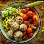 Paleo Chicken Sun Dried Tomato Meatballs with Zoodles and Roasted Cherry Tomatoes