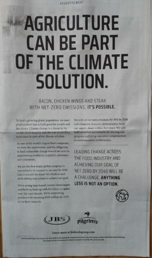 Least credible food industry ad of the week: JBS and climate change