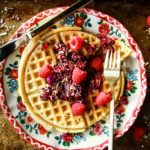 Coconut Waffles with Raspberry Sauce- vegans and gluten free