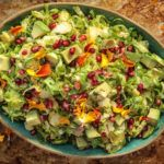 Brussels Sprouts Apple Salad with Avocado and Sour Apple Jalapeno Vinaigrette