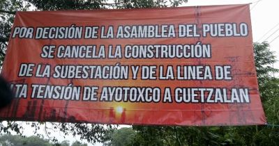 Indigenous people 'close down' a Federal Electricity Commission substation in Cuetzalan