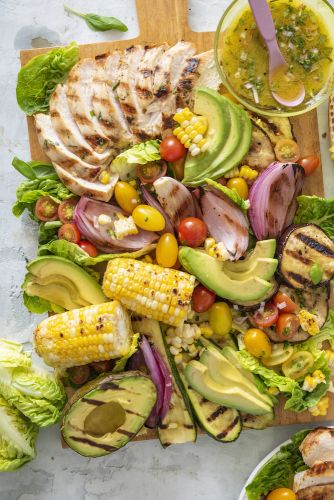 Grilled Chicken, Vegetable and Avocado Salad Board