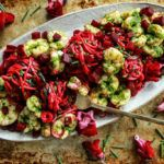 Paleo Beet Pesto Zoodles with Spicy Herb Shrimp
