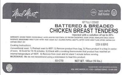 Ton of chicken tenders recalled after consumer complaint