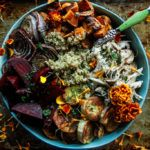 One minute Insta-Pot Quinoa Bowl with Chicken and Roasted Winter Vegetables
