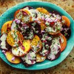 Roasted Beet Salad with Tahini Lemon Sauce - Vegan