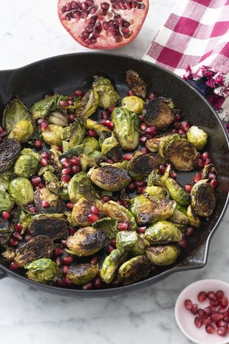 Cast Iron Brussels Sprouts with Pomegranate and Garlic