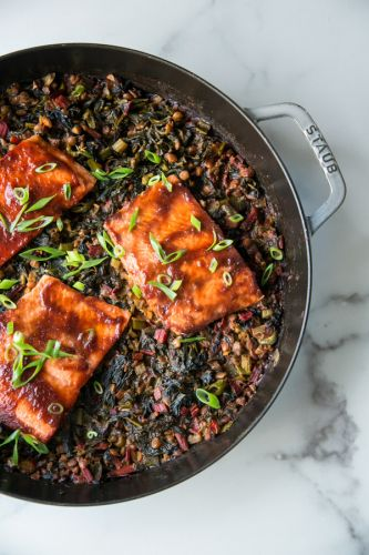 Baked BBQ Salmon with Lentils and Collards