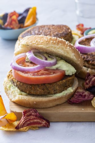 Lentil Chickpea Burgers with Avocado Yogurt Sauce