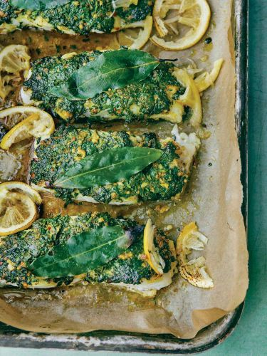 Roasted Cod with a Cilantro Crust