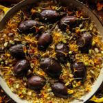 Saffron, Orange and Pistachio Rice with Eggplant