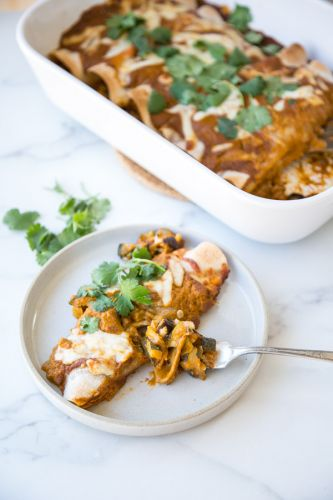 Roasted Ratatouille Vegetable Enchiladas with Fire Roasted Tomato Sauce