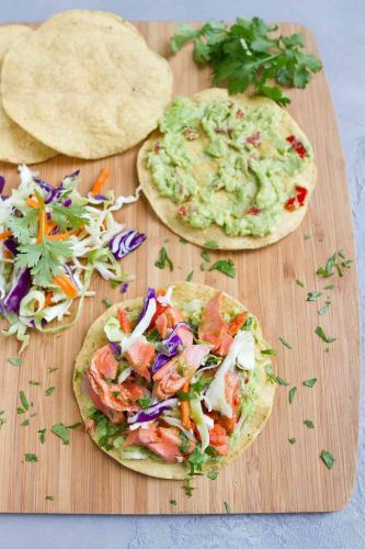Salmon Tostadas Recipe with Guacamole