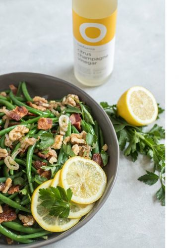 Green Beans with Warm O Citrus Champagne and Bacon Vinaigrette