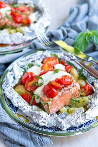 Caprese Potato Salmon Foil Packets