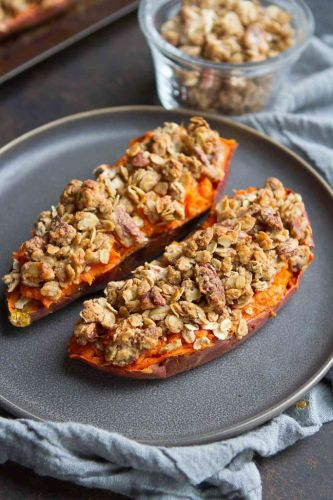 Twice Baked Sweet Potatoes with Pecan Streusel Topping