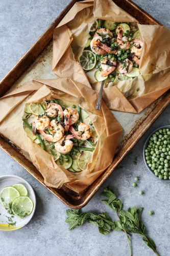 Coconut Lime Shrimp Packets with Summer Veggies