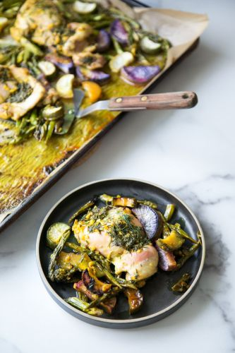 Sheet Pan Ginger-Turmeric Chicken with Asparagus and Radishes